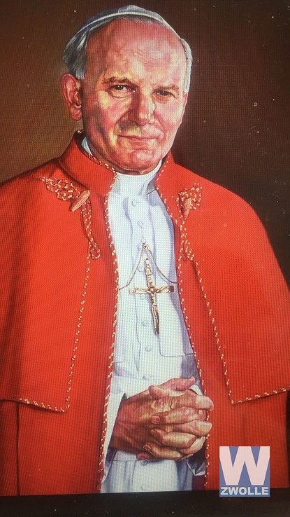 Expositie in Statenzaal; From the Psychedelic to the Vatican - Foto: Schilderij Paus: Kunstenaar: Bruce Atherton, Title: Pope John Paul II. 2006